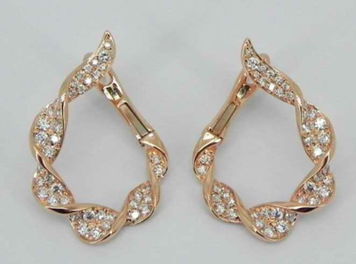 Nature inspired twist diamond c-shaped earrings