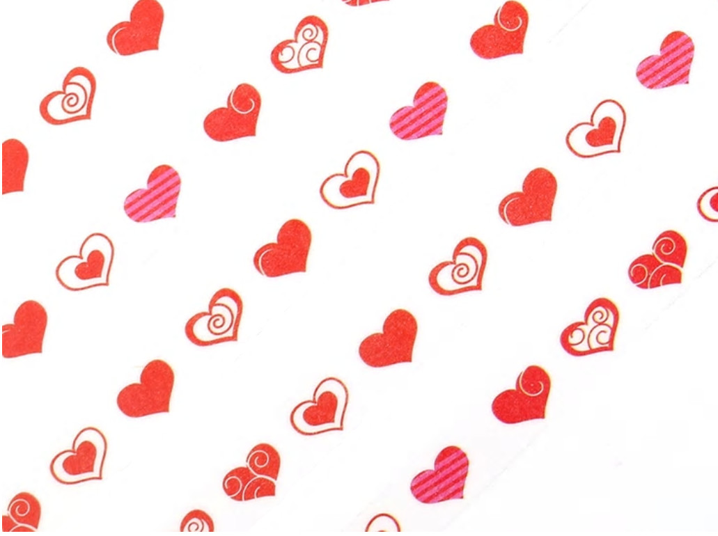 Red Love Heart Paper Tape 8mm