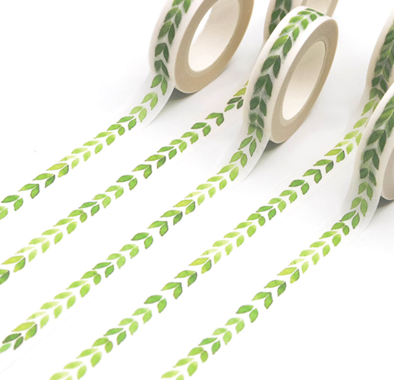 Green Leaves Paper Tape 10mm