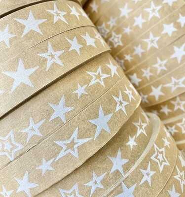 18mm Stars Self Adhesive Brown Paper Tape