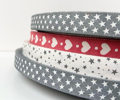 Stars on Grey Cotton Ribbon