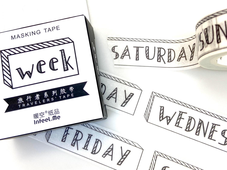 Week Days Paper Tape 15mm