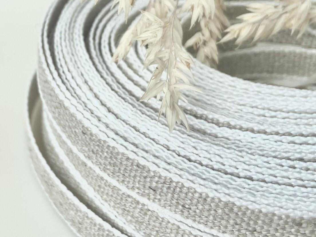 White Edged Linen Ribbon