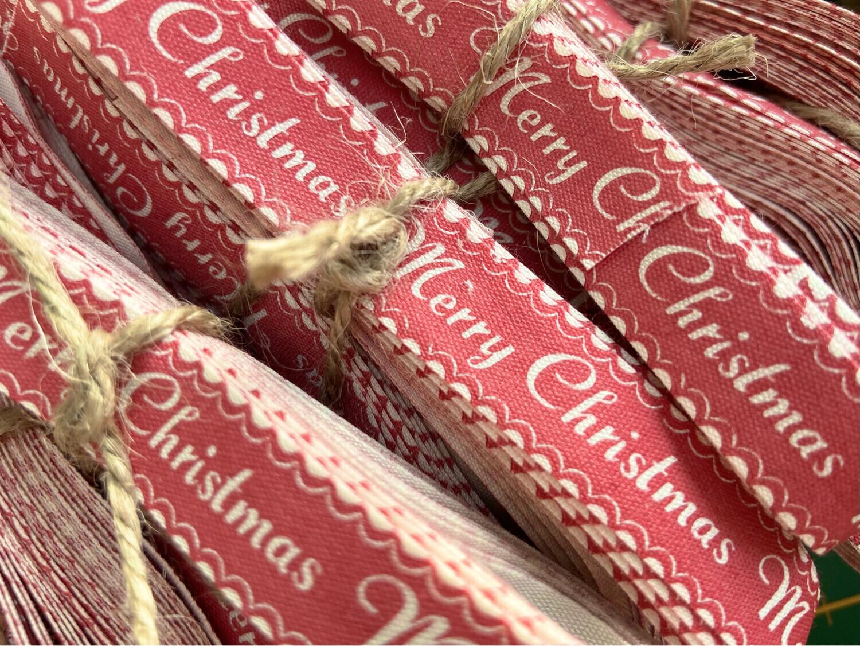 Retro Merry Christmas Cotton Ribbon