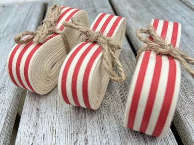 Christmas Candy Stripe Cotton Ribbon