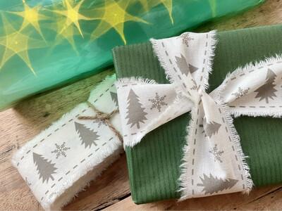 Natural Frayed Cotton Christmas Ribbon 45mm