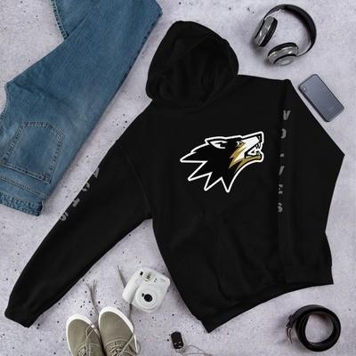 Wolf Printed Sleeves Hooded Sweatshirt