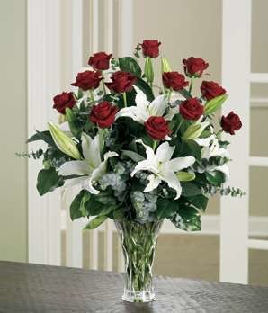 Roses and Lilies Valentines Bouquet