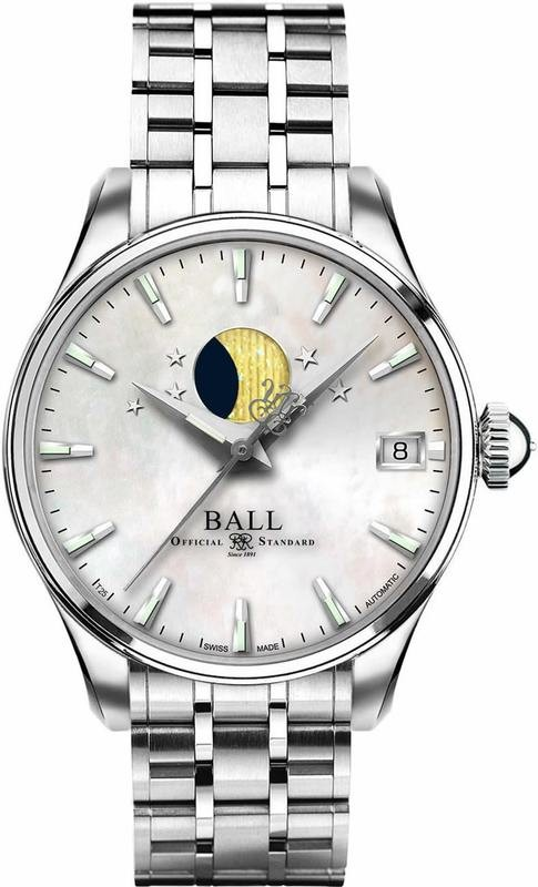 Ball Watch Trainmaster Moon Phase Ladies NL3082D-SJ-WH