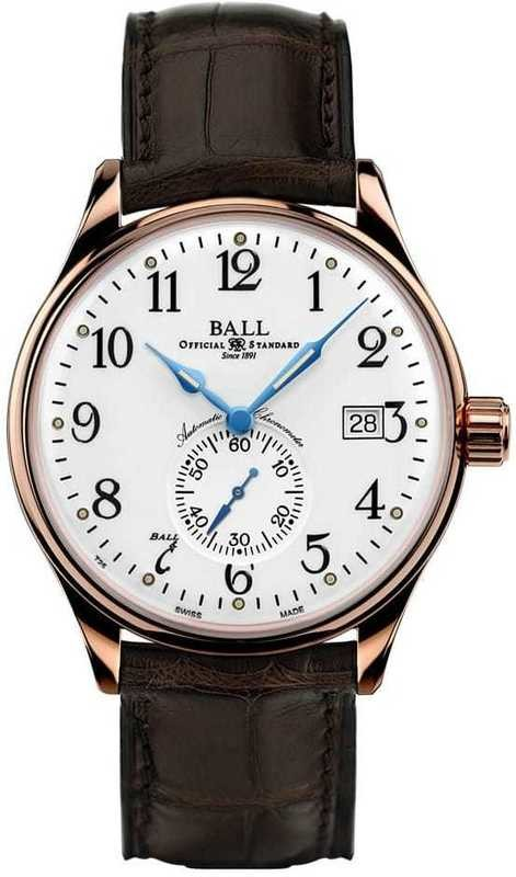Ball Watch Trainmaster Standard Time 18K NM3888D-PG-LCJ-WH