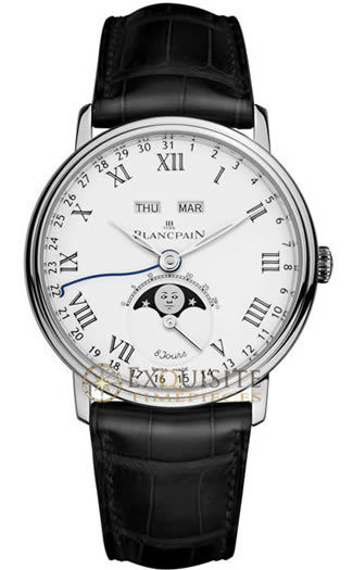 Blancpain Villeret Complete Calendar 8 Jours with Moon Phase In Platinum 6639-3431-55B