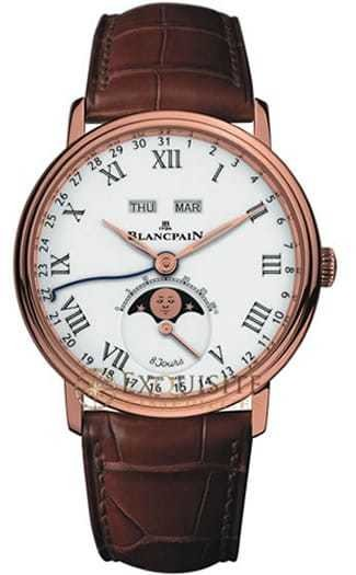 Blancpain Villeret Complete Calendar 8 Jours with Moon Phase In 18kt Rose Gold 6639-3631-55B