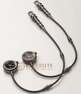 Giuliano Mazzuoli Manometrino Pocket Watch Polished Steel Gun Metal PVD Slate Dial