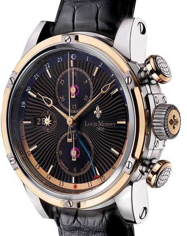 Louis Moinet Geograph 18K Gold and Steel Black Dial LM-24.30.55