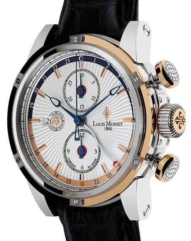 Louis Moinet Geograph 18K Gold and Steel LM-24.30.65