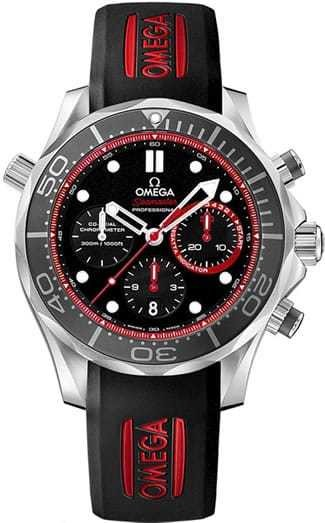 Omega Seamaster 300m Diver Co-Axial Chronograph 44mm Black and Red