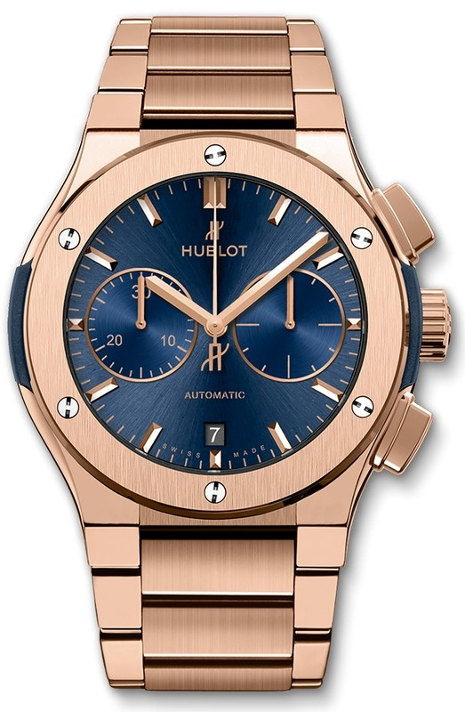 Hublot Blue Chronograph King Gold Bracelet 45 mm 520.OX.7180.OX