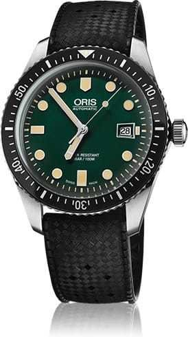 Oris Divers Sixty Five Green Dial Rubber Band