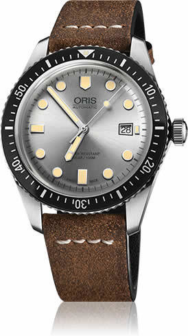 Oris Divers Sixty Five Silver Dial on Strap