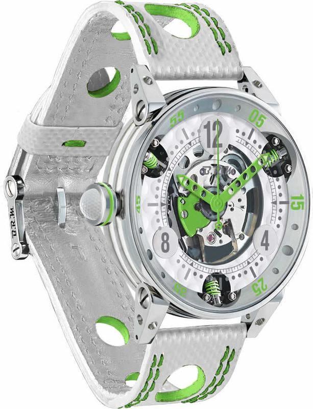 BRM Golf White Skeleton Dial Green