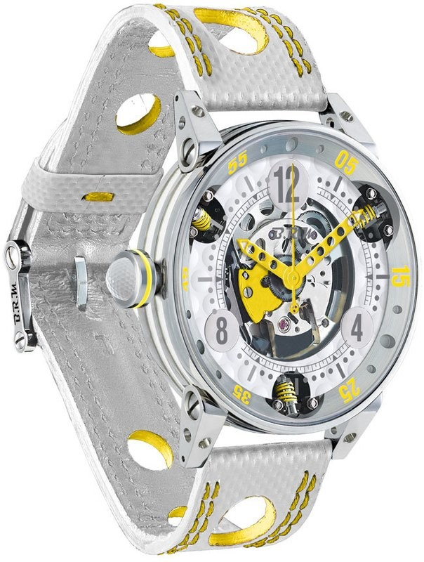 BRM Golf White Skeleton Dial Yellow