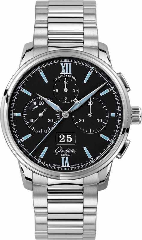 Glashütte Original Senator Chronograph Panorama Date Black Dial on Bracelet