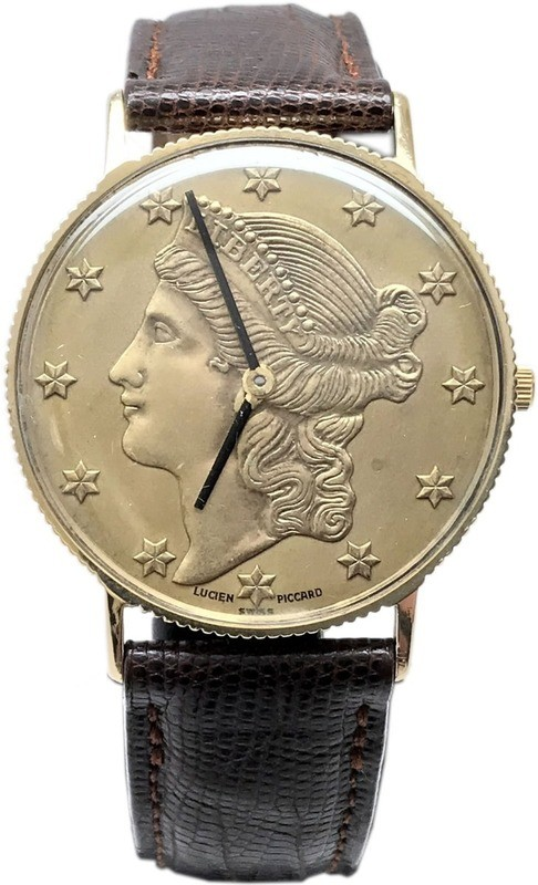 Vintage Lucien Piccard Coin Watch 14k Gold