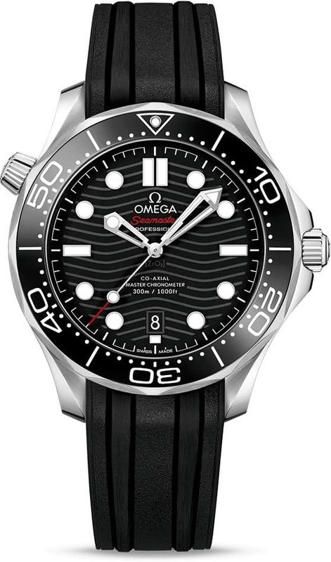 Omega Seamaster Diver 300M Co-Axial Master Chronometer Black Dial on Rubber Strap