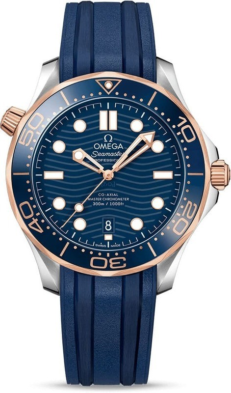 Omega Seamaster Diver 300M Co-Axial Master Chronometer Steel & Sedna Gold on Strap