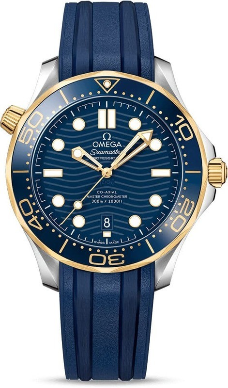 Omega Seamaster Diver 300M Co-Axial Master Chronometer Steel Yellow Gold on Strap