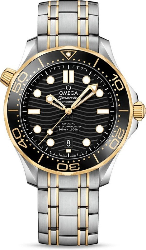Omega Seamaster Diver 300M Co-Axial Master Chronometer Black Dial Yellow Gold on Bracelet