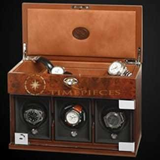 Underwood Watch Winder Three Module with Jewellery Case Briarwood