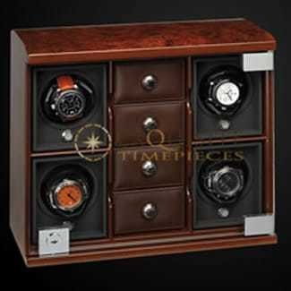 Underwood Watch Winder Four Module Compartment Trays Briarwood