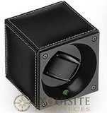 Swiss Kubik Watch Winder Single Black Calf Leather With White Stitches