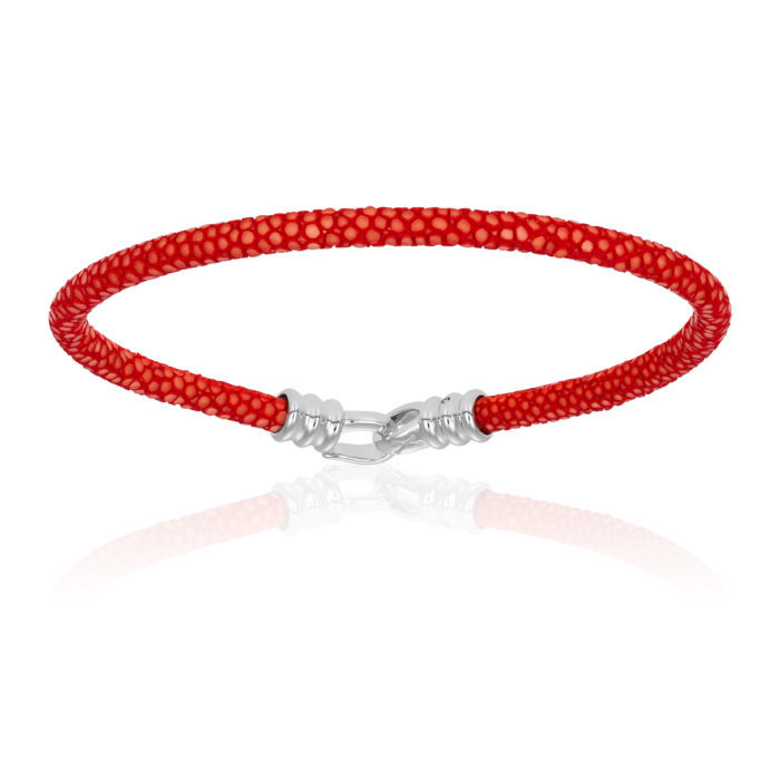Double Bone Single Stingray Red Bracelet Unisex