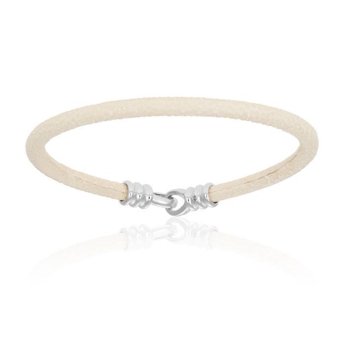 Double Bone Single Stingray White Bracelet Unisex