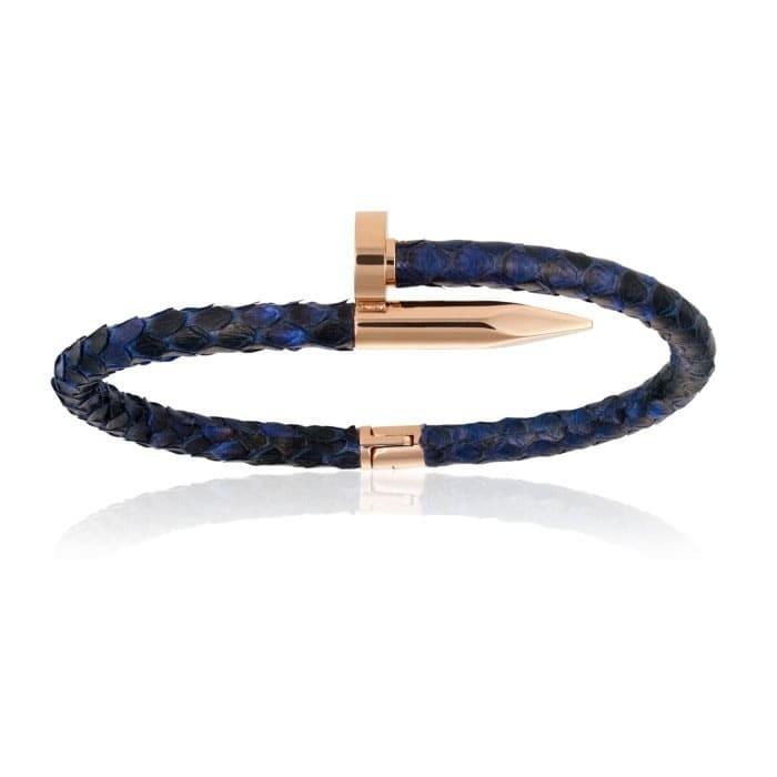 Double Bone Blue Python Bracelet with Rose Gold Nail