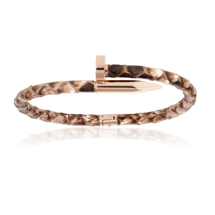 Double Bone Natural Python Bracelet with PVD Rose Gold Nail Unisex