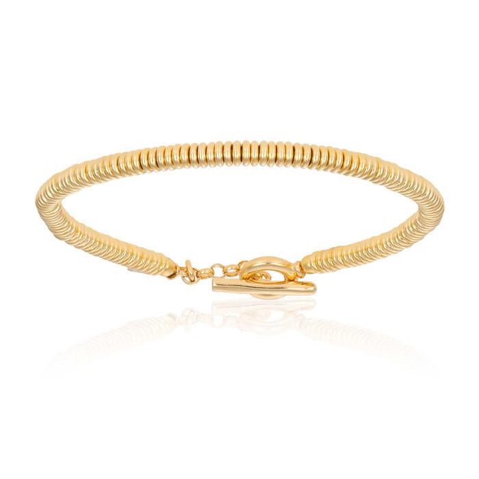 Double Bone Yellow Gold Beads Bracelet Unisex