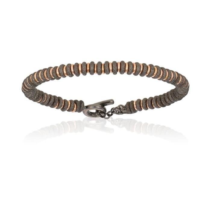 Double Bone Medium Beads Black PVD Bracelet with Rose Gold Beads