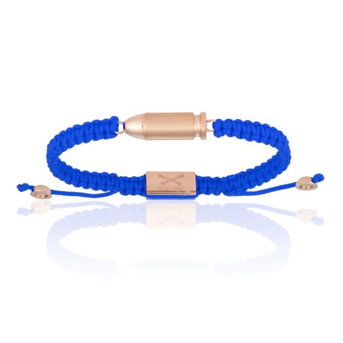 Double Bone Blue Nylon Bracelet With 18k Rose Gold Plating Bang