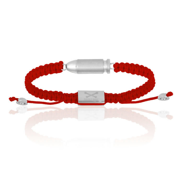 Double Bone Red Nylon Bracelet Steel Bang