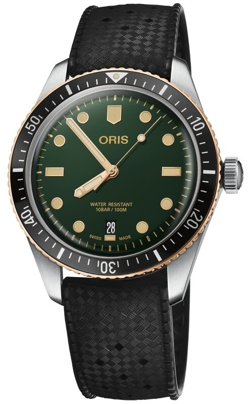 Oris Divers Sixty Five Green Dial on Rubber Strap
