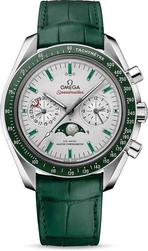 Omega Speedmaster Moonwatch Master Chronometer Moonphase Platinum Green