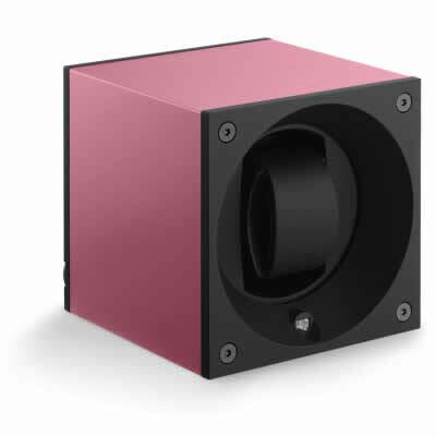 Swiss Kubik Watch Winder Single Anodized Pink with Window Protect