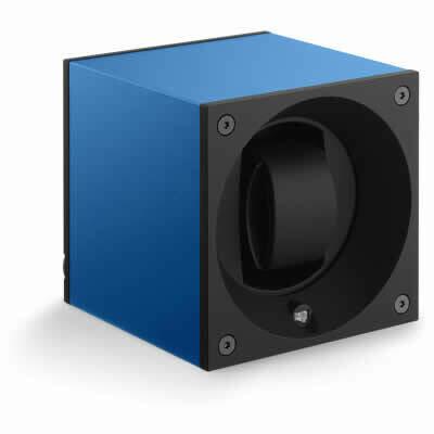 SwissKubik Watch Winder Single Anodized Blue Sapphire With Window Protect