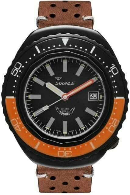 Squale 2002 Black Dial Brown Leather Strap