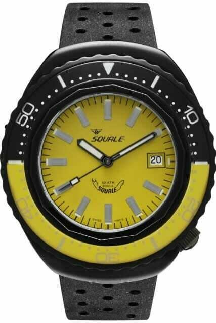 Squale 2002 Yellow Dial Rubber Strap