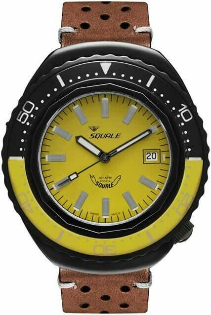 Squale 2002 Yellow Dial Leather Strap
