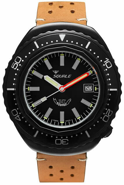 Squale 2002 Black Dial Leather Strap
